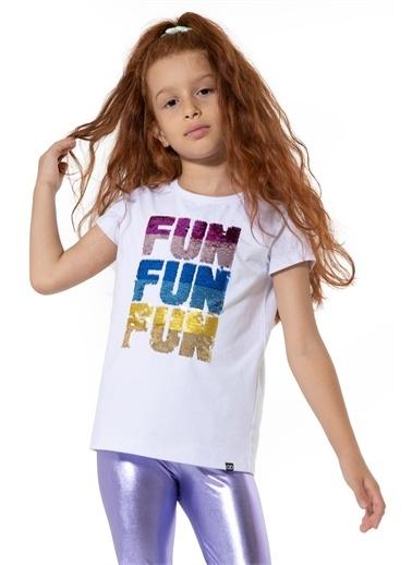 Colorinas Fun Payetli Tshirt Kısa Kol Beyaz
